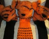 Golf Club Cover, Tiger Head Animal Print Plush, Orange Fabric Novelty Gift. Unusual Present, Easter Basket Filler, Unisex Golfing Aid.