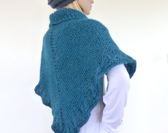 Knit shawl, Teal hand knitted wrap, Knit Cape , Gift for her, Chunky knit shawl wrap in teal green