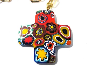 Murano Millefiori Greek Cross Necklace VINTAGE Millefiori Venetian Glass Mosaic Necklace Cross Religious Jewelry Vintage 70s Jewelry (T128)