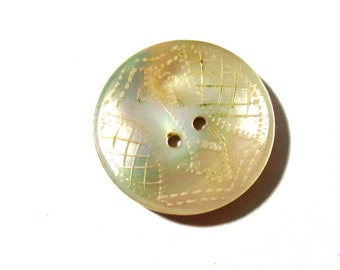 Mother of Pearl Button VINTAGE MOP Button Abalone Carved Iridescent Color Stunning Vintage Buttons Wedding Jewelry Supplies (A38)