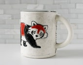 Red Panda Mug | woodland forest animal coffee mug tea cup | red black white | original animal mug | black interior | made to order