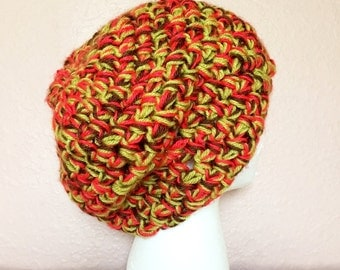Crochet Olive Red and Brown Beanie