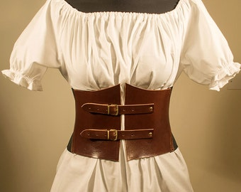 Alisea Corset Belt with strips in genuine leather and elastic band, many colors available