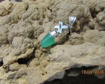 Pendant, Windmill with Chrysoprase Bullet Cabochon in Sterling and Fine Silver