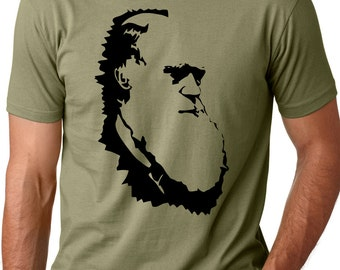 Charles Darwin evolution T shirt screenprinted Tee