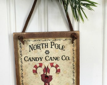 North Pole Candy Cane Hanging Wood Sign Ornament