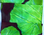 silk scarf large long Green Purple Pilodendron Leaf hand painted unique luxury crepe wearable art women bold fashion