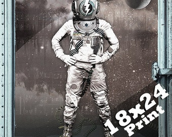 scuba diver steampunk major tom space oddity 18x24 astronaut helmet poster | deep sea david bowie space suit outer space NASA poster