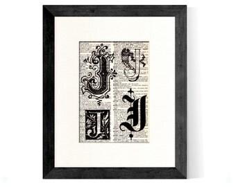 Letter J Monogrammed Intitial Art Print - Gift Home Office Decor