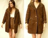 1970's Vintage Sheepskin Shearling Jacket Coat Size M/L