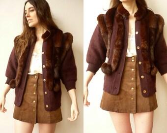Vintage Cropped Wool Cardigan With Rabbit Fur Trim & Pom Poms