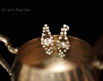 Antique Rhinestone Earrings, Jewelry Art by Fae Factory Fantasy Artist Dr Franky Dolan (Restored Vintage Antique Screw-On Clip-On Earrings)