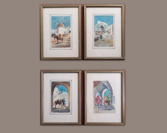 set of 4 original watercolor paintings of Mykonos Greece / Mid Century Modern 1950s-60s vintage original 8x11 wooden frames