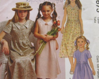 Childrens and Girls Dresses with Front Tucks, Back Princess Seaming in Sizes 6 7 8 UNCUT McCalls Pattern 2673