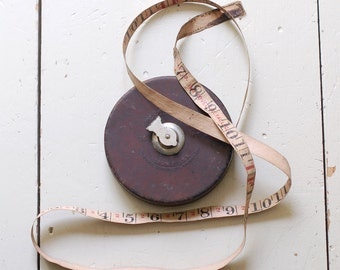 VINTAGE Lufkin Tape Measure - Leather Tape Measure with Hand Crank