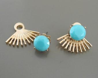 Ear Jackets - Turquoise Earrings - Ear Jacket Earrings - Spiked Stud Earrings - Statement Earrings - Post Earrings