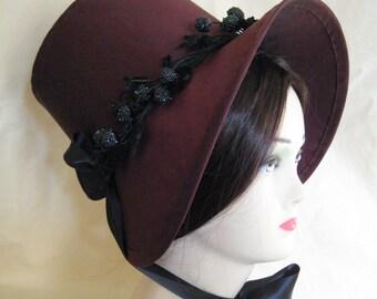 Regency Bonnet. Jane Austen. Aubergine SILK Stovepipe Bonnet, Vintage Trims.