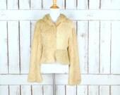 Blonde rabbit fur coat jacket/reversible coat/suede leather leopard/cheetah print beaded jacket/beige brown fur coat/90s fur jacket