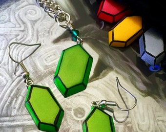 Rupee Necklace and Earring Set (Dangle or Post) - Choose Your Color - Legend of Zelda - Nintendo