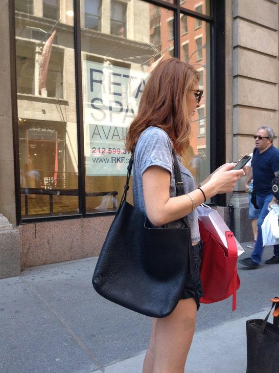 Village Tote / Black Leather Tote Bag - Travel - Handbag - Soft - Slouchy - CrossBody - Boho - Shoulder Bag - Purse - Handmade - Custom Made