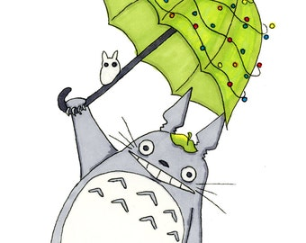 Totoro inspired Christmas Card