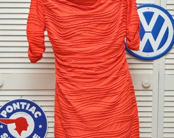 Vintage 90's Women's Bright Orange Wiggle Dress/Ruched with Chenille Stripes/Bodycon/Sara Campbell/Lined/Medium/Polyester USA Fall