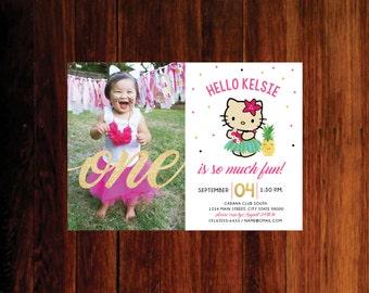 Custom Listing, Kitty hawaiian invitation - printed invites