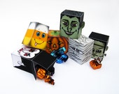 Halloween Printable Candy Boxes Set of 6 - Candy Corn,Jack-O-Lantern,Mummy,Vampire,Witch,Frankenstein - Halloween Monster trick or treat Box