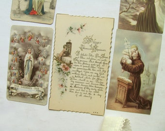 5 Vintage Holy Cards Prayer Card Catholic Religious Picture Mary Jesus Holy Ghost Lourdes Angel Aquinas St Anthony Germany Italy Prayer Book