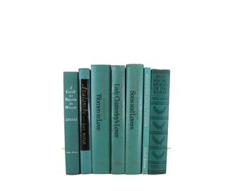 Blue Green Decorative Books ,  Blue Vintage Books ,  Old Books for Decoration , Vintage Photo Props , Table Setting , Wedding Decor