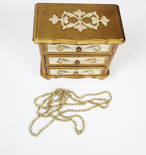 Hollywood Regency Design Musical Jewelry Box Gilt Golden