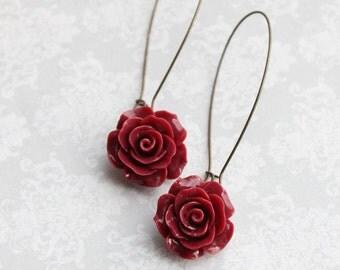 Deep Red Rose Earrings Long Dangle Earrings Romantic Bridesmaid Gift Oxblood Red Flower Earrings Bridal Acessories Nickel Free Dark Maroon