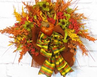 Fall Wreath, Fall Wall Basket, Rustic Fall  Decor, Autumn Decor, Fall Door Basket, Rustic Decor
