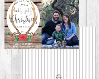 """Photo Christmas Card: Holly Jolly // 5x7"""" printable"""