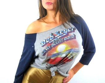 Vintage Bob Seger Shirt 80s Tee Silver Bullet Band 80s Tee The Rolling Stones Nirvana Led Zeppelin Concert shirt Band tee Soft Thin Punk
