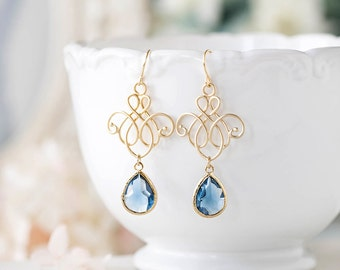 Navy Blue Earrings, Gold Navy Something Blue Wedding Earrings, Bridesmaid Earrings, Sapphire Montana Blue Drop Earrings, Chandelier Earrings