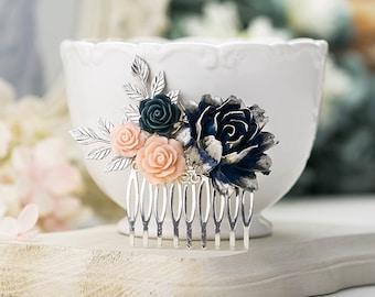 Navy Blue Pink Wedding Hair Comb Silver Bridal Bridal Headpiece Dark Blue Blush Pink Flower Silver Leaf Hair Comb Silver and Navy Wedding