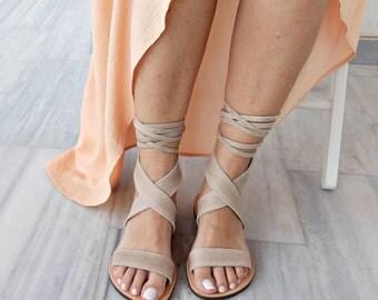 Greek Leather sandals, gray sandals, suede sandals, gladiator sandals