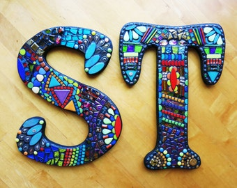 """11"""" Tall - Custom Mixed Media Mosaic LETTERS/INITIALS/NAME - 'Wild & Funky' Style Example - Order Your 11"""" Size Letters From This Listing"""