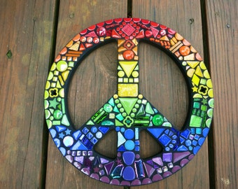 """CUSTOM RAINBOW Peace Sign - 12"""" Round - From my 'Rainbow Collection' - Multicolored Glass, Stones and Tiles, Hippie/Bohemian Art - OOAK!!"""