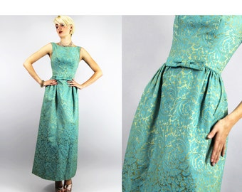 Dress Vintage 50s BROCADE Bombshell WIGGLE COCKTAIL Dress Turquoise Gold Scrolls Embossed Damask Gown // TatiTati Style on Etsy