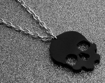 Black Skull Necklace Black Skull Jewelry Gothic Goth Heavy Metal Horror Punk Rock and Roll Rocker Rock n Roll Tattoo Skull Day of the Dead