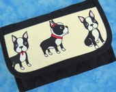 Women Wallet - Small Wallet Credit Card Holder Boston Terrier Dog Fabric Wallet Cute Credit Card Wallet Business Card Wallet Ladies Velcro