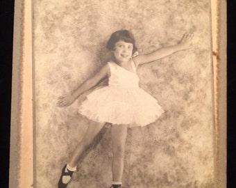 Victorian Cabinet Card of Little Ballerina Photograph Studio Portrait