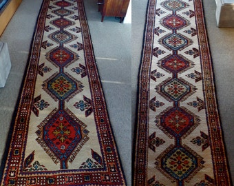 FREE SHIP, Choose from 2 Matching 3'x14' Genuine Hand Knotted Oversize Iranian Meshkin Rug Runners, 1 or both, Excellent Vintage