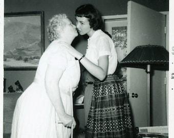 "Vintage Photo ""Awkward Aunt Mary Kiss"" Snapshot Photo Old Antique Photo Black & White Photograph Found Photo Paper Ephemera Vernacular - 136"
