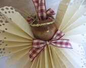 Paper Angel Ornament U-PICK Trim Ribbon Angel Ornament Holiday Angel Christmas Ornament Primitive WWOFG SnowNoseCrafts
