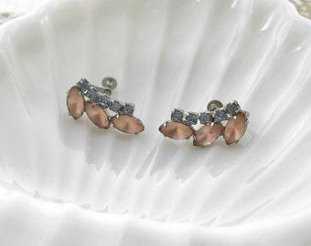 Vintage Earrings Prong Set Pink Stones And Blue Rhinestones Screw Backs 1950's Silver Tone