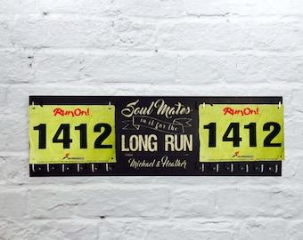 Race Bib Holder, Running Medal Holder and running medal Race Medal Display -Soul Mates Long Run- and medal holder- Printed on Wood