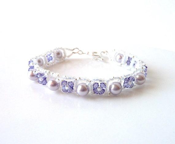 Flower Girl Bracelet, Flower Bracelet, Girls Purple Bracelet, Flower Girl Jewelry, Childrens Jewelry, Flower Girl Gift, Gift for Girl